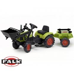 FALK Traktor CLAAS ARION zielony z przyczepą na pedały + łyżka