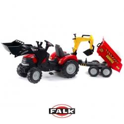 FALK Traktor CASE IH PUMA z Przyczepą, Łyżką i Spychaczem