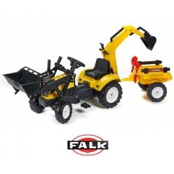 FALK Traktor na Pedały 2 łyżki Ciągnik Koparka Przyczepa + Akcesoria
