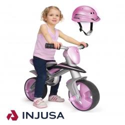 Injusa Różowy Rowerek biegowy z kaskiem