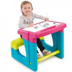Smoby Tablica stolik Dwustronna biurko z ławeczką Flamastry kreda Różowa