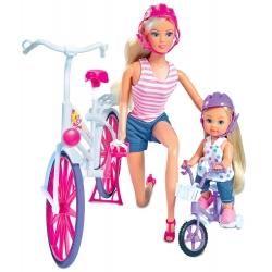 Lalka Steffi i Evi Love na rowerze Simba