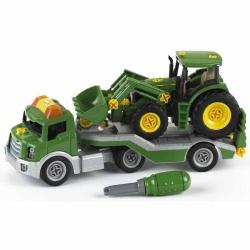Traktor John Deere na lawecie z narzędziami dla dzieci Klein