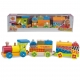 Kolejka drewniana dla dzieci Eichhorn 2 wagony + Klocki Drewniane