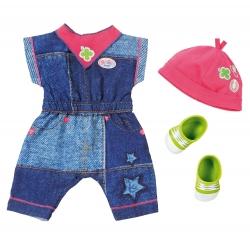 Jeansowy kombinezon z czapką i bucikami dla lalki Baby Born 43 cm