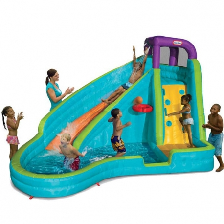 Little Tikes Dmuchany Wodny Plac zabaw Slam 'n' Curve Slide z zakrzywioną zjeżdżalnią i wspinaczką