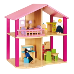 Viga Toys Drewniany Domek Dla Lalek Pink