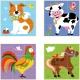 Drewniane kostki logiczne Viga Toys Farma 9 elementów