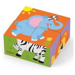 Viga Drewniana układanka Zoo Puzzle 4 klocki
