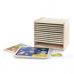 Puzzle drewniane 12 plansz po 24 puzzle w stojaku Viga Toys