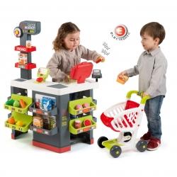 Smoby Czerwony Supermarket Elektroniczna Kasa światło dźwięk 41 akcesoriów Wózek