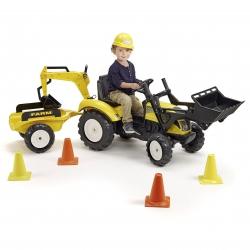 Traktor na pedały przyczepa łyżka koparka 4 pachołki kask FALK