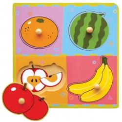 Drewniane Puzzle Owoce Układanka Niespodzianka Viga Toys