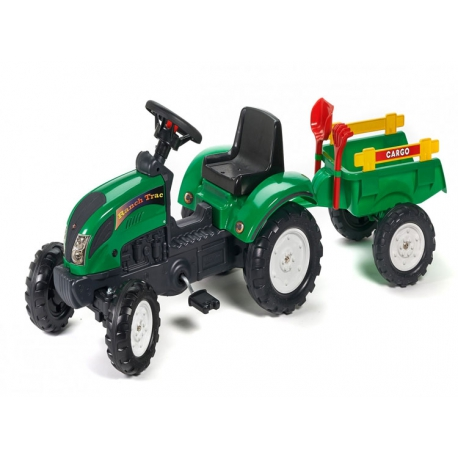FALK Traktor RANCH z przyczepą zielony i zestawem do piasku 2-5 lat