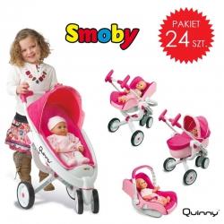 PAKIET - Wózek dla lalki Smoby MAXI COSI Quinny 5w1 Spacerówka Gondola Fotelik - 24 szt.