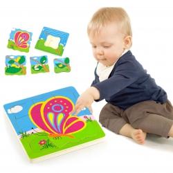 Puzzle drewniane Viga Toys Jak rośnie kogucik