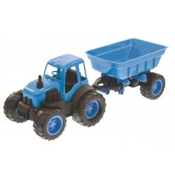 Traktor Spychacz z Przyczepą Na Gumowych Kołach Zielony Mochtoys