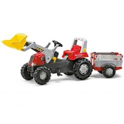 ***Rolly Toys traktor na pedały Junior RT czerwony z przyczepą i łyżką New
