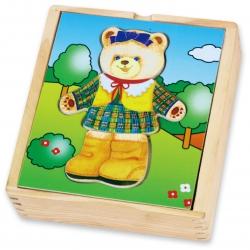 Viga Drewniane Puzzle Układanka Ubierz Misia dziewczynkę
