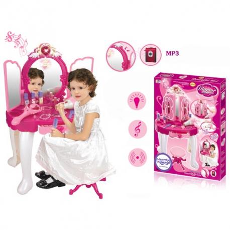 WOOPIE Różowa INTERAKTYWNA Toaletka MP3 Suszarka Biżuteria Kosmetyki