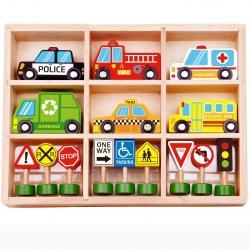 TOOKY TOY Zestaw Drewnianych Pojazdów i Znaków Drogowych