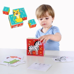 TOOKY TOY Układanka Bloki Kostki Sześciany Puzzle Zwierzęta + wzorniki