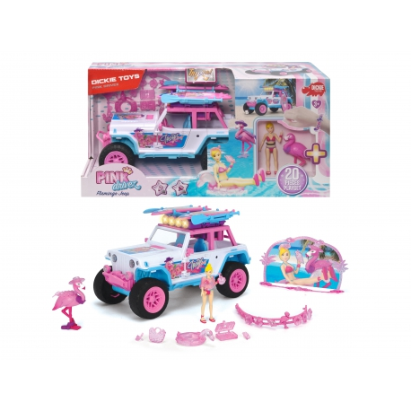 DICKIE Playlife Pink Drivez Flamingo Jeep 22 cm