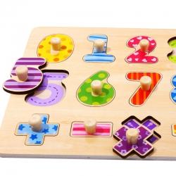 TOOKY TOY Drewniane Puzzle Nauka Liczenia Układanka Z Pinezkami Cyferki
