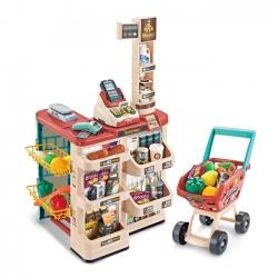 WOOPIE Supermarket z Wózkiem Sklepowym Waga Kasa Skaner + 48 Akcesoriów