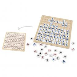 VIGA Drewniana Edukacyjna Tabliczka Matematyka i Alfabet 101 Elementów